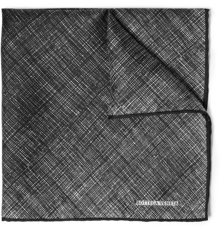 Bottega Veneta Printed Silk Pocket Square