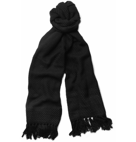 Bottega Veneta Woven-Cashmere and Leather Scarf