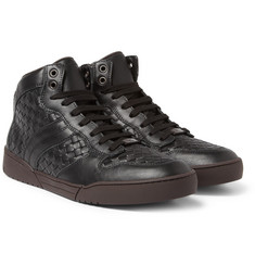Bottega Veneta Intrecciato Leather High Top Sneakers