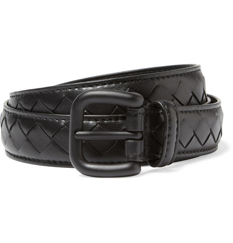 Bottega Veneta Slim Intrecciato Woven-Leather Belt