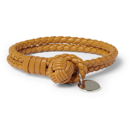 Bottega Veneta Woven-Leather Bracelet