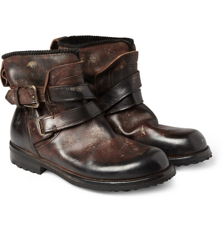 Dolce & Gabbana Distressed-Leather Biker Boots