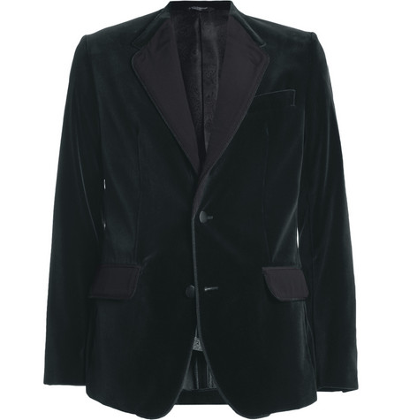 Dolce & Gabbana Collarless Slim-Fit Velvet Suit Jacket