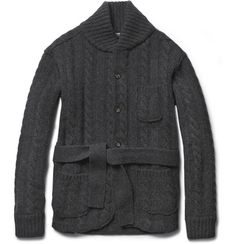 Dolce & Gabbana Shawl-Collar Cable-Knit Wool Cardigan