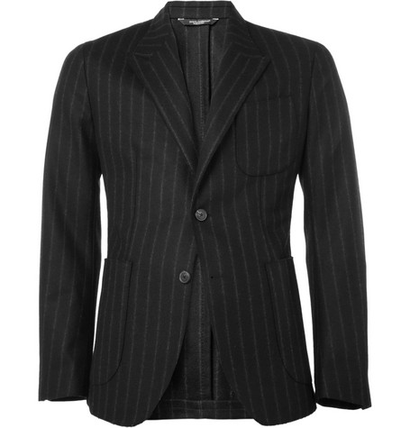 Dolce & Gabbana Unstructured Chalk Stripe Wool-Blend Suit Jacket