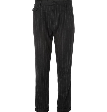 Dolce & Gabbana Pleated Chalk-Stripe Wool-Blend Trousers