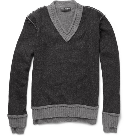 Dolce & Gabbana Contrast-Panel Wool-Blend Sweater
