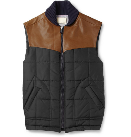 Band of Outsiders Leather-Trimmed Quilted Gilet