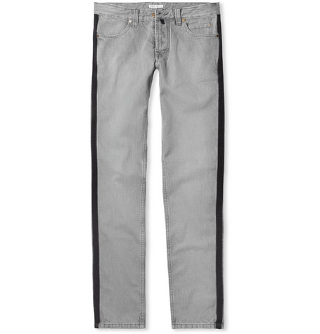 Michael Bastian Grosgrain-Striped Slim-Fit Jeans