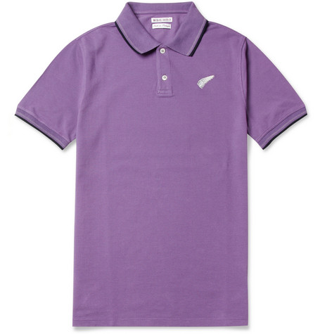 Michael Bastian Contrast-Trim Cotton-Piqué Polo Shirt