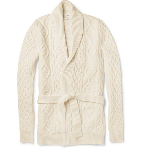 Michael Bastian Cable-Knit Wool and Cashmere-Blend Cardigan