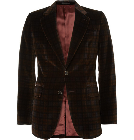 Alexander McQueen Slim-Fit Plaid Velvet Suit Jacket