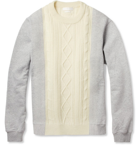 Alexander McQueen Aran-Knit Wool and Cotton-Jersey Sweater