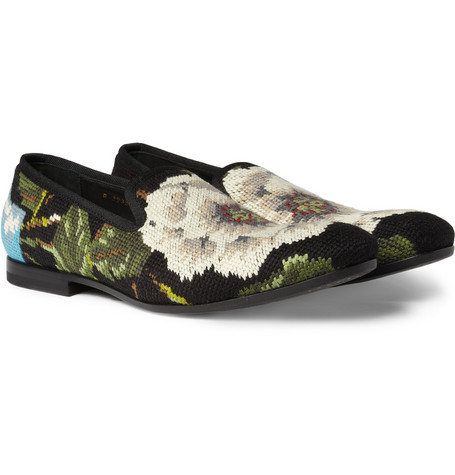 Alexander McQueen Needlepoint Slippers