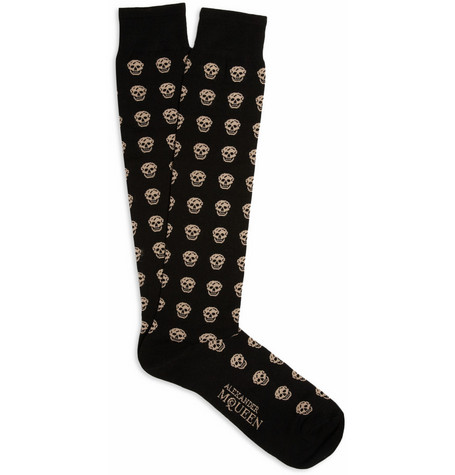 Alexander McQueen Skull-Patterned Cotton-Blend Socks