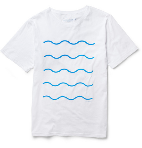 Saturdays Surf NYC Wave-Print Cotton-Jersey T-Shirt