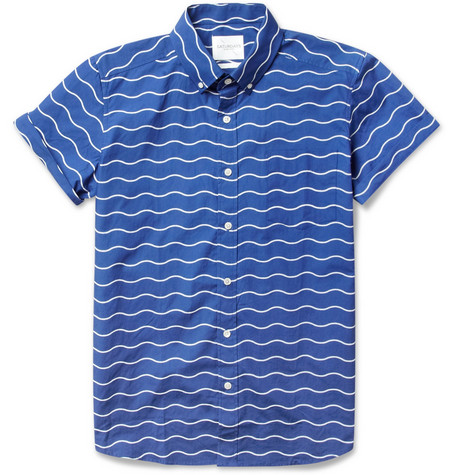 Saturdays Surf NYC Esquina Short-Sleeved Wave-Print Cotton Shirt