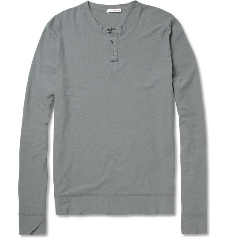 James Perse Long-Sleeved Slub Cotton Henley T-Shirt