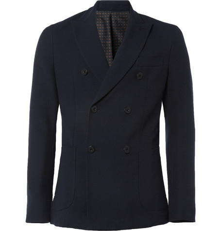 Slowear Montedoro Unstructured Piqué Wool-Blend Blazer