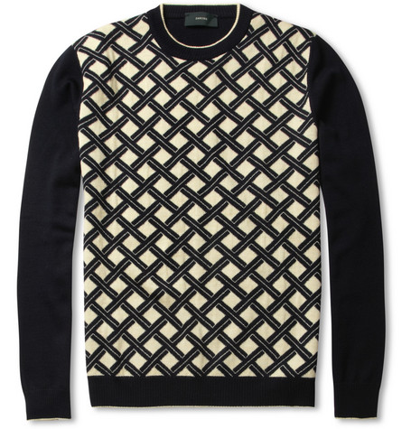 Slowear Zanone Jacquard-Knit Wool Sweater