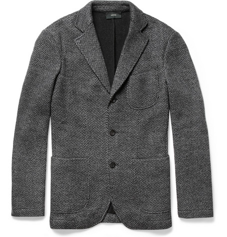 Slowear Zanone Unstructured Knitted Wool-Blend Blazer