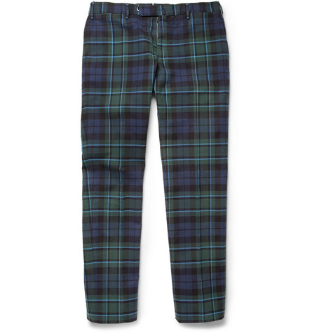 Slowear Incotex Plaid Slim-Fit Cotton Chinos