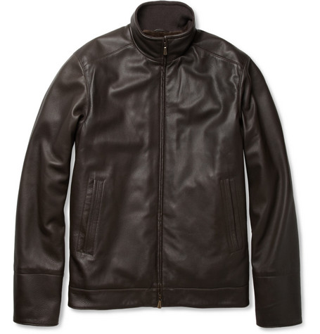 Loro Piana Beaver Fur-Lined Leather Bomber Jacket