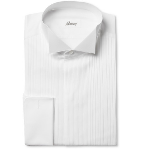 Brioni Pleated Bib-Front Cotton Tuxedo Shirt