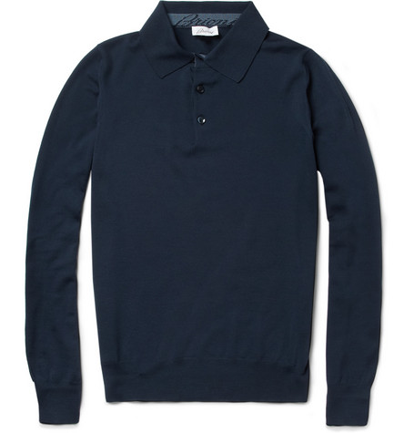 Brioni Long-Sleeved Fine-Wool Polo Shirt