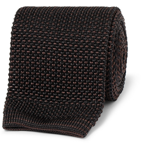 Brioni Patterned Knitted Silk Tie