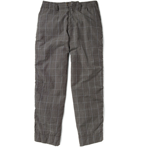 Kolor Plaid Wool and Mohair-Blend Trousers