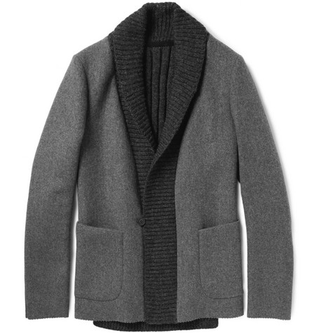 Kolor Wool and Cashmere-Blend Flannel and Knitted Blazer