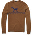 Jil Sander Dinosaur Intarsia Camel and Wool-Blend Sweater