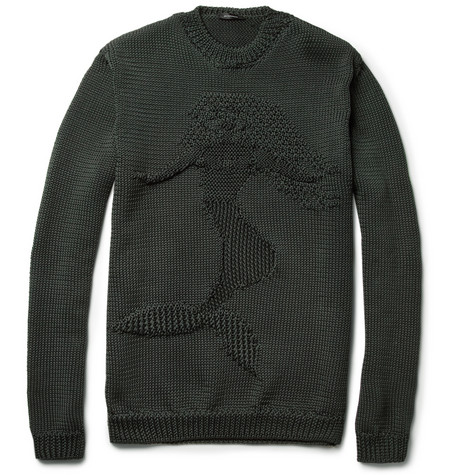Jil Sander Mermaid Intarsia Loose-Knit Sweater