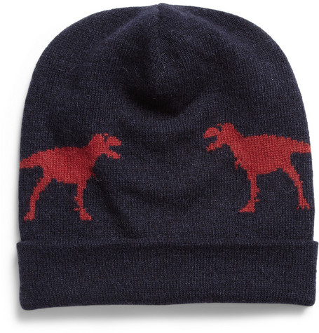 Jil Sander Dinosaur Intarsia Camel and Wool-Blend Hat