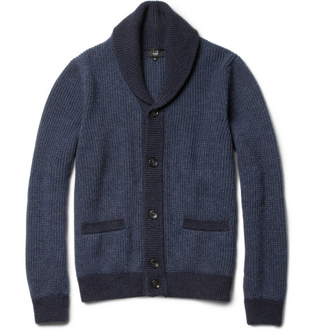 Alfred Dunhill Ribbed Shawl-Collar Wool Cardigan