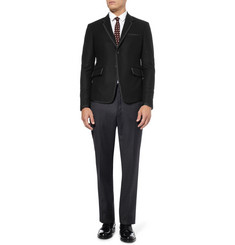 Thom Browne Grosgrain-Trimmed Slim-Fit Flannel Blazer