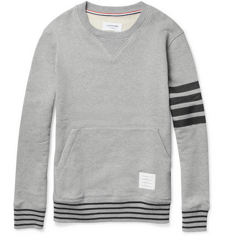 Thom Browne Stripe-Print Loopback-Cotton Sweatshirt
