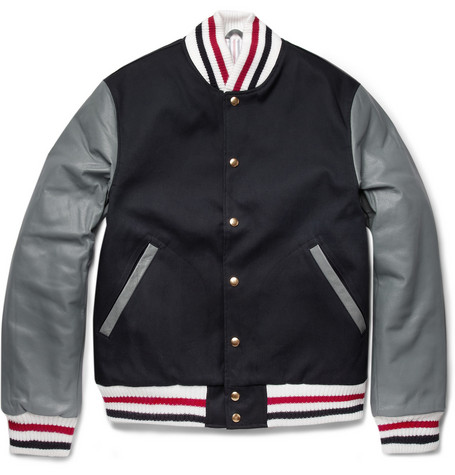 Thom Browne Cotton and Leather Bomber Jacket
