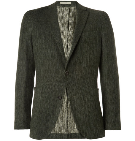 Boglioli Silk and Wool-Blend Herringbone Blazer