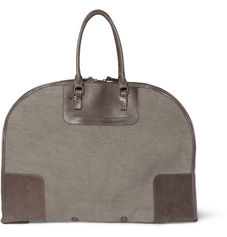 Boglioli Leather-Trimmed Cotton Suit Carrier