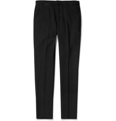 Givenchy Slim-Fit Leather-Trimmed Wool Trousers