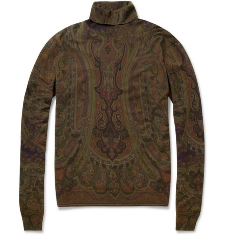 Etro Paisley-Print Wool Rollneck Sweater
