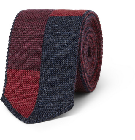 Etro Block-Colour Knitted Wool Tie