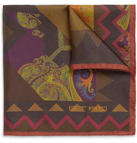 Etro Geometric-Print Silk Pocket Square