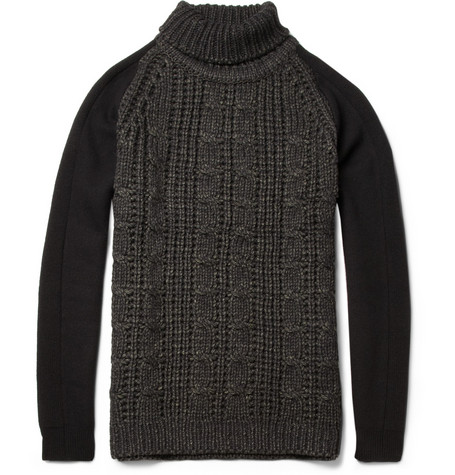 Wooyoungmi Contrast-Sleeve Wool-Blend Sweater