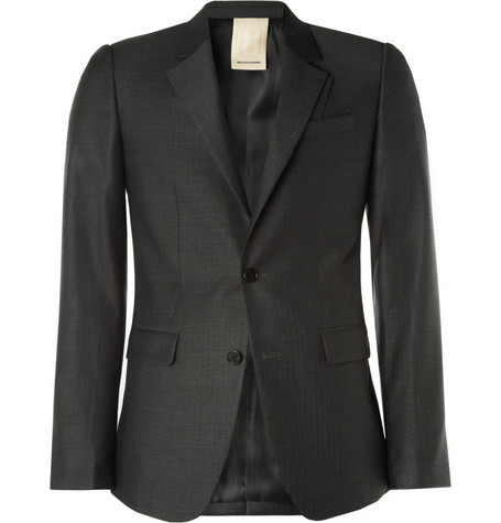 Wooyoungmi Slim-Fit Herringbone Wool Suit Jacket