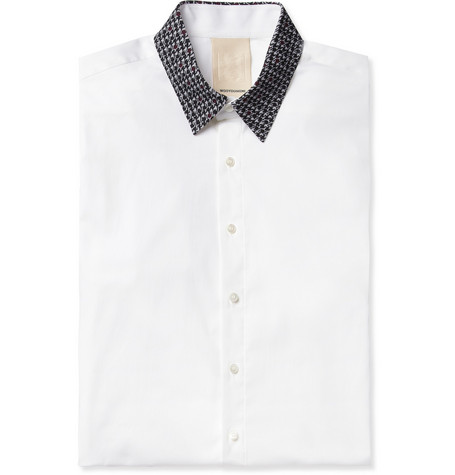 Wooyoungmi Slim-Fit Contrast-Collar Cotton-Blend Shirt