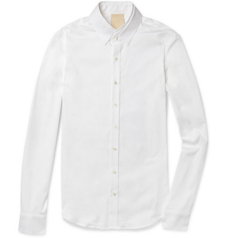 Wooyoungmi Double-Collar Slim-Fit Cotton-Blend Shirt
