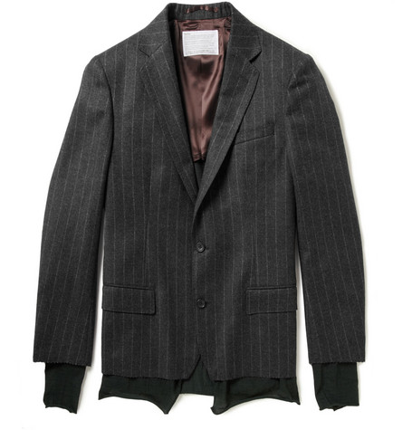 Kolor Pinstriped Wool and Cashmere-Blend Flannel Blazer